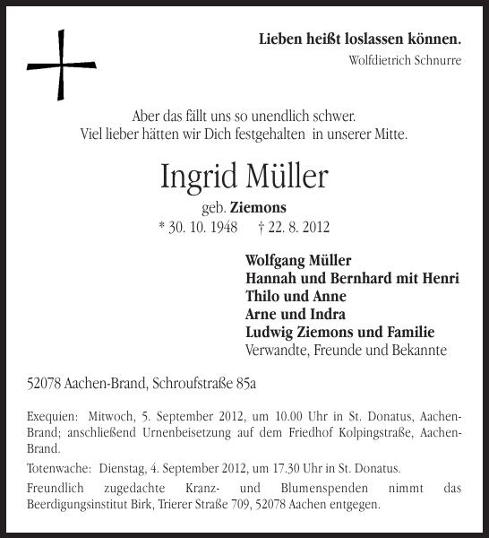 Ingrid Müller : Traueranzeige : Aachener Zeitung