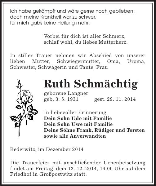 Ruth Schmächtig : Traueranzeige : Sächsische Zeitung