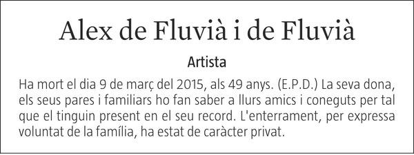 ALEX DE FLUVIÀ I DE FLUVIÀ