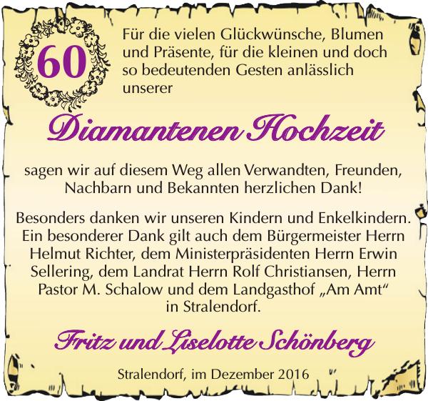 Fritz Und Liselotte Schönberg : Danke : Hagenower Kreisblatt