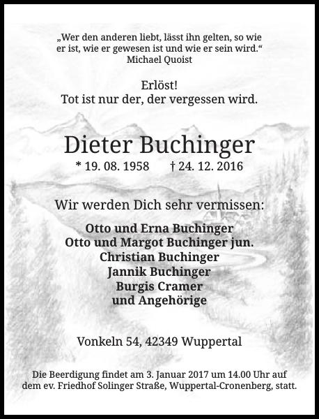 Dieter Buchinger : Traueranzeige : Westdeutsche Zeitung
