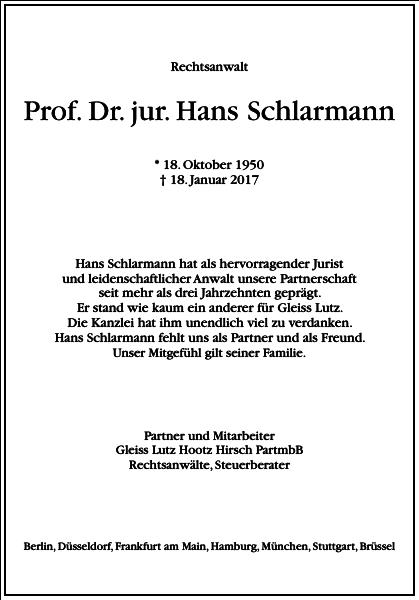 Prof. Dr. Jur. Hans Schlarmann