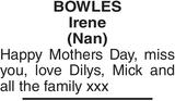 BOWLES Irene : Mother's Day Memorial