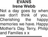 EVANS Irene : Mother's Day Memorial