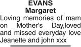 EVANS Margaret : Mother's Day Memorial