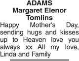 ADAMS : Mother's Day Memorial