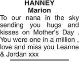 HANNEY Marion : Mother's Day Memorial