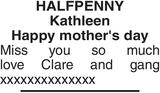 HALFPENNY : Mother's Day Memorial