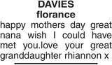 DAVIES florance : Mother's Day Memorial