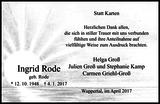 Ingrid Rode : Danksagung