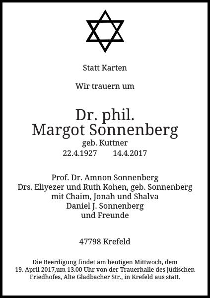 Dr. phil. Margot Sonnenberg
