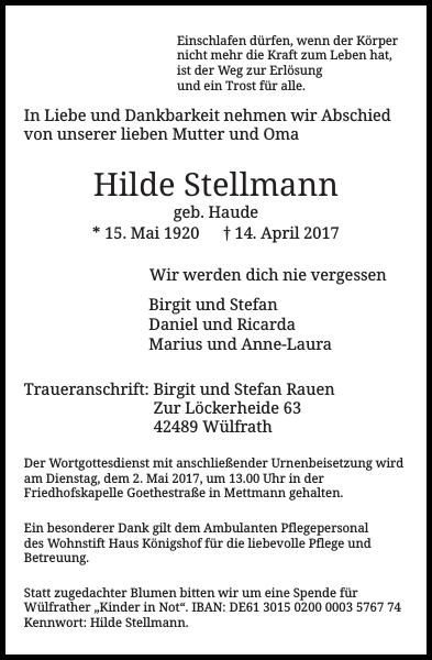 Hilde Stellmann