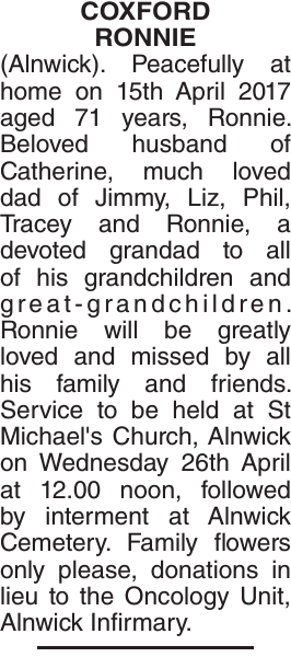 COXFORD RONNIE : Obituary