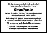 Simon Franke : Nachruf