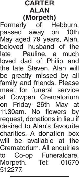 CARTER ALAN : Obituary
