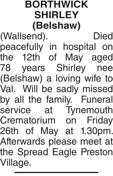 BORTHWICK SHIRLEY : Obituary