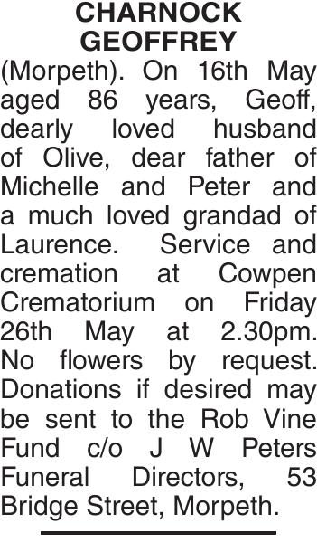 CHARNOCK : Obituary