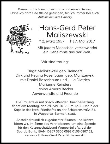Anzeige für Hans-Gerd Peter Maliszewski