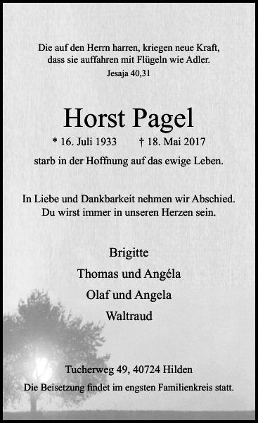 Anzeige für Horst Pagel