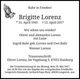 Brigitte Lorenz : Traueranzeige