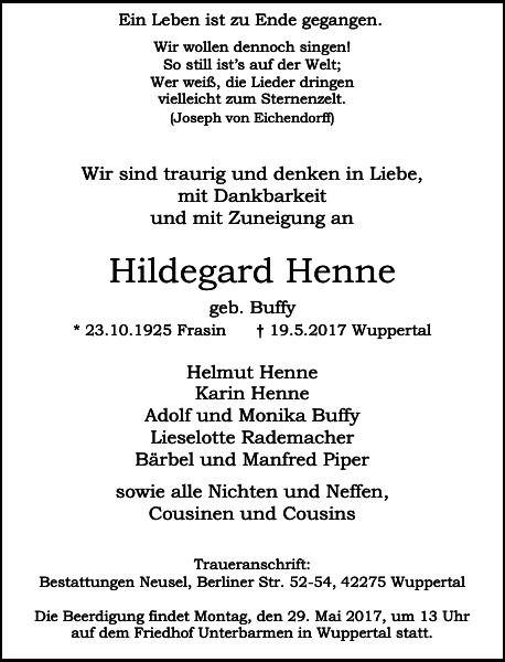 Anzeige für Hildegard Henne