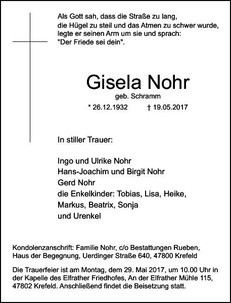 Anzeige für Gisela Nohr