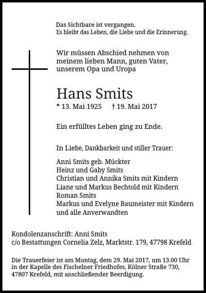 Anzeige für Hans Smits