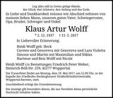 Anzeige für Klaus Artur Wolff