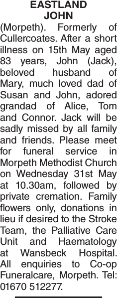 EASTLAND JOHN : Obituary