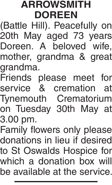 ARROWSMITH DOREEN : Obituary