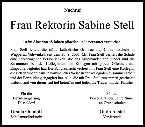 Frau Rektorin Sabine Stell