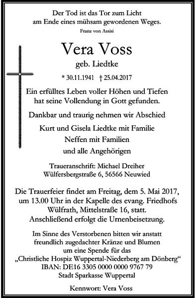 Anzeige für Vera Voss