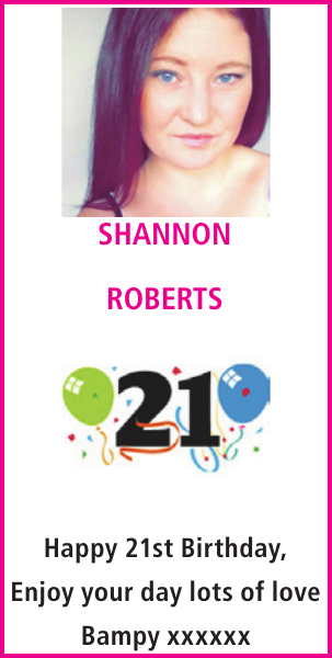 Birthday notice for SHANNON