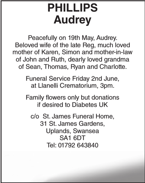 Obituary notice for PHILLIPS Audrey