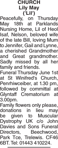 Obituary notice for Lily