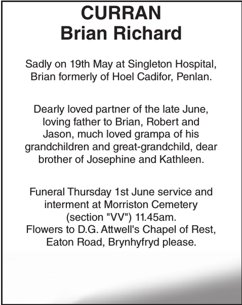 Obituary notice for CURRAN Brian