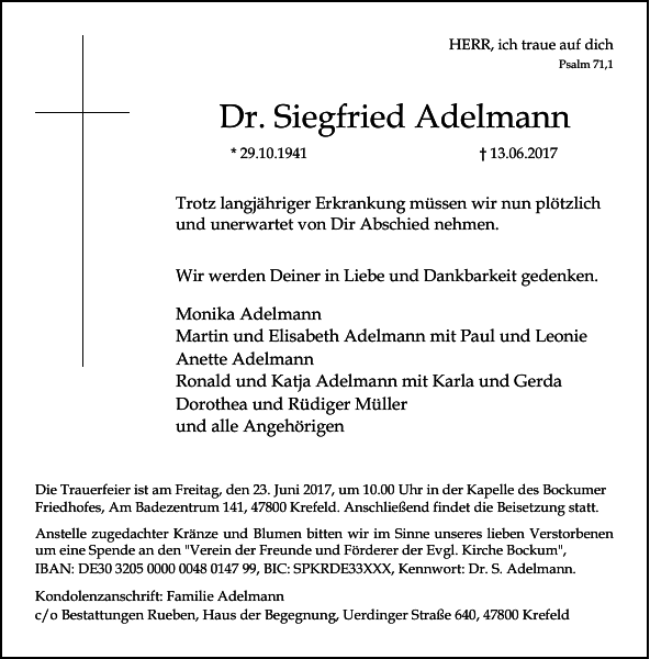 Dr. Siegfried Adelmann