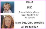 MACEY LANG : Birthday