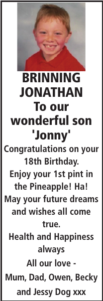 BRINNING JONATHAN : Birthday