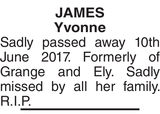 Obituary notice for JAMES Yvonne