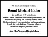 Bernd-Michael Kader : Nachruf