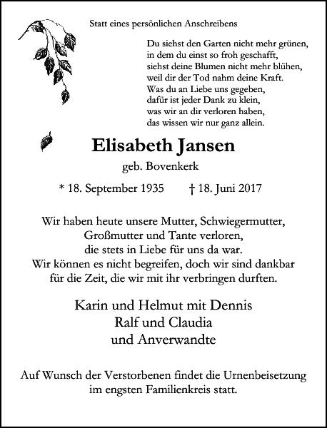 Elisabeth Jansen : Traueranzeige