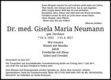 Dr. med. Gisela Maria Neumann : Traueranzeige
