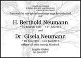 Anzeige für H. Berthold Neumann Dr. Gisela Neumann