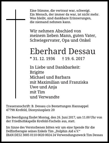 Eberhard Dessau : Traueranzeige