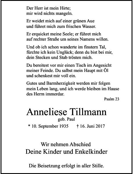 Anneliese Tillmann : Traueranzeige
