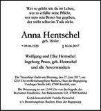 Anna Hentschel : Traueranzeige