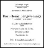 Anzeige für Karl-Heinz Lengwenings