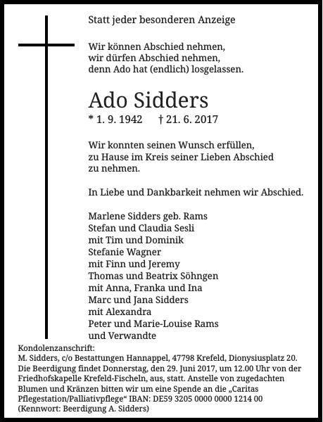 Ado Sidders : Traueranzeige
