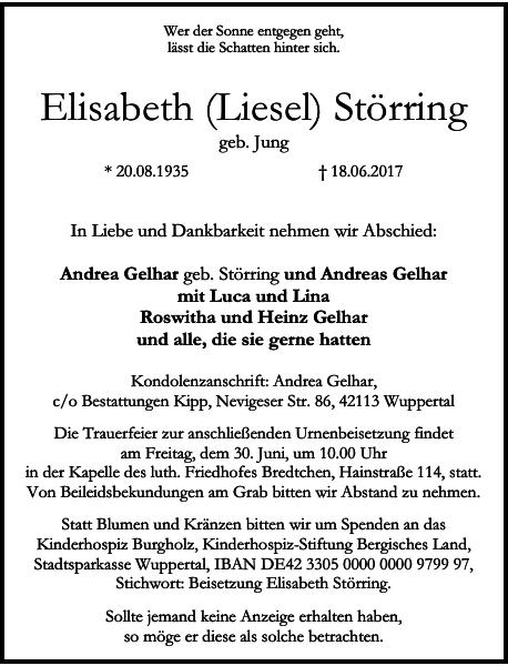 Elisabeth Liesel Störring : Traueranzeige